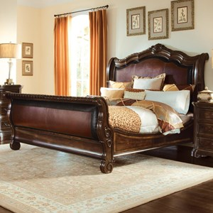 A.R.T. Furniture Inc Valencia King Upholstered Sleigh Bed - Complete Set