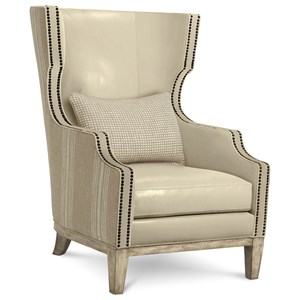 Transitional Leather Wing Chair with Nailhead Trim
