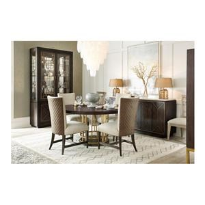 5 Piece Round Dining Room Table and 4 Upholstered Side Chairs Set