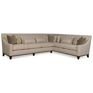 Transitional Two Piece Sectional Sofa with Tufted Back
