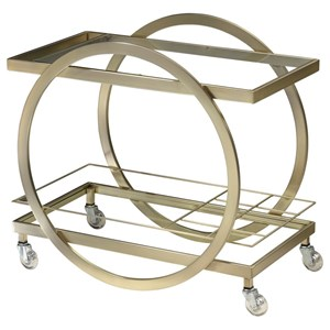 Metal Wine Server Cart with Glass Shelves