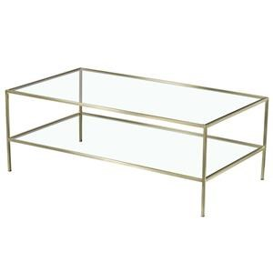 Rectangular Metal Cocktail Table with Glass Top