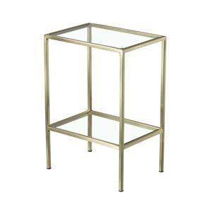 Rectangular Metal End Table with Glass Top