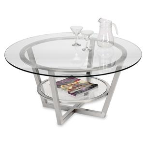 Round Cocktail Table with Glass Top and Shelf