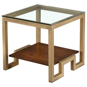 Square Lamp Table with Glass Top