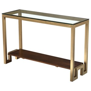 Rectangular Console Table with Glass Top