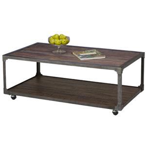 Planked Top Cocktail Table on Casters