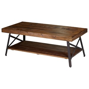 Industrial Rectangular Cocktail Table with Reclaimed Planks
