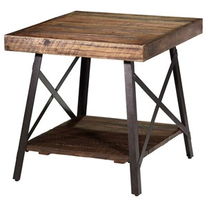 Industrial Rectangular End Table with Reclaimed Planks
