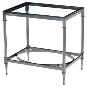 Rectangular Side Table with Glass Top