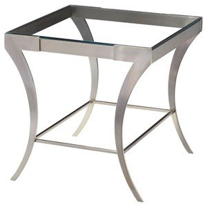 Rectangular End Table with Glass Top