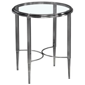 Round Lamp Table with Glass Top