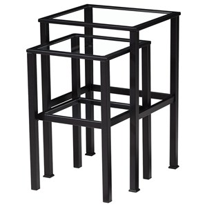 Metal Nesting Tables with Inset Glass Tops