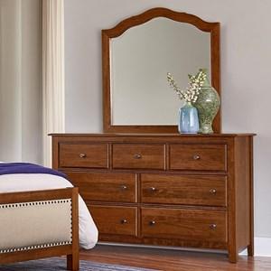 Solid Wood Loft Triple Dresser & Tall Arched Mirror