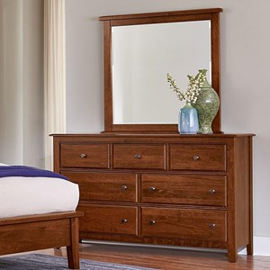 Solid Wood Loft Triple Dresser & Tall Landscape Mirror