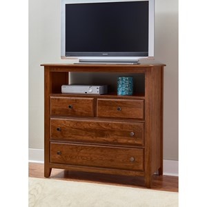 Solid Wood Loft Media Chest - 4 Drawers and Open Shelf