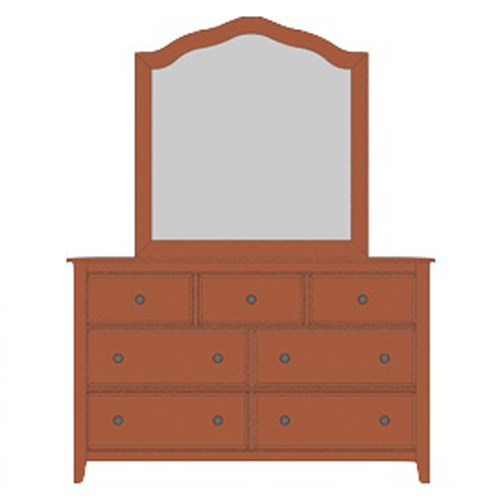 Artisan Choices Loft Triple Dresser & Tall Arched Mirror by Artisan & Post at Northeast Factory Direct