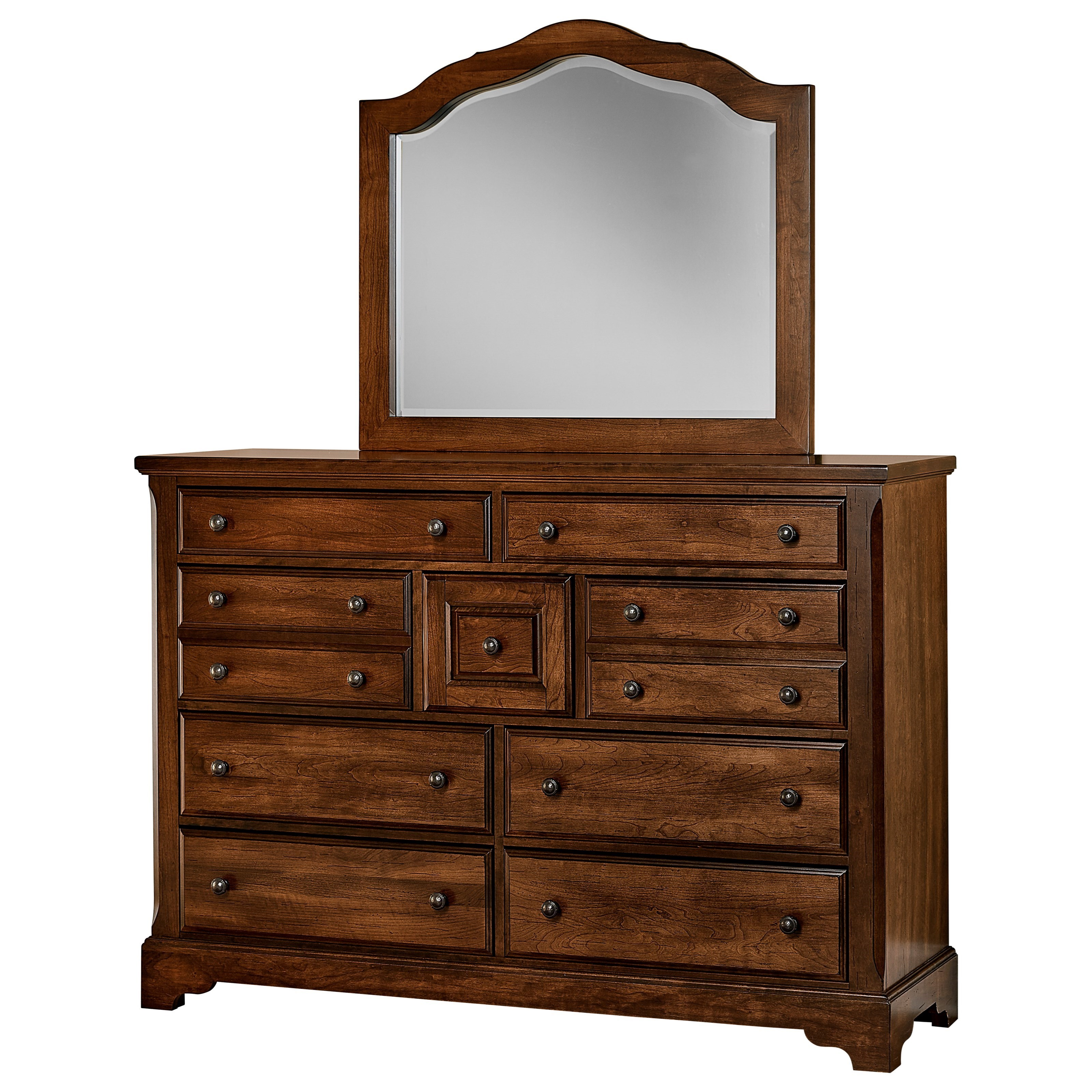 Artisan Choices Villa Triple Dresser & Arched Mirror by Artisan & Post at Lapeer Furniture & Mattress Center