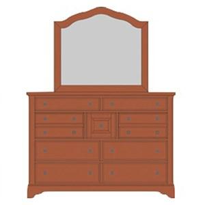 Solid Wood Villa Triple Dresser & Arched Mirror