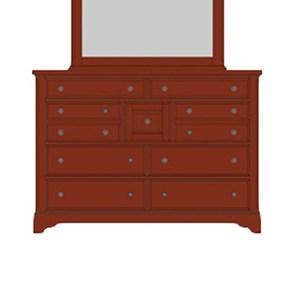 Solid Wood Villa Triple Dresser - 9 Drawers
