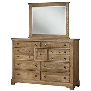 Solid Wood Villa Triple Dresser & Landscape Mirror
