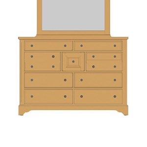 Solid Wood Villa Triple Dresser - 9 Drawers