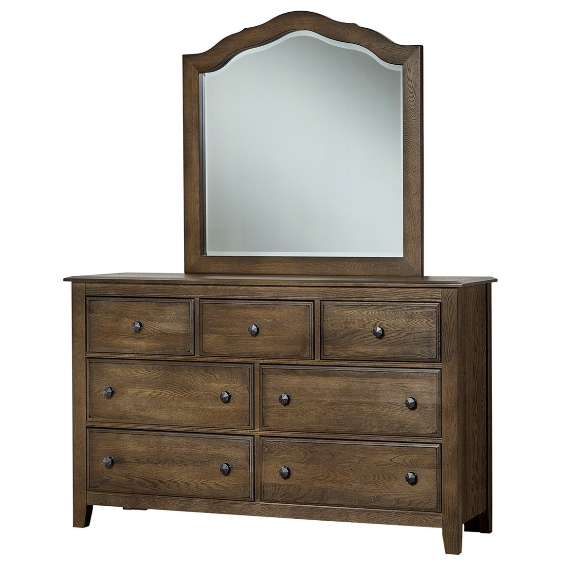 Artisan Choices Loft Triple Dresser & Tall Arched Mirror by Artisan & Post at Rooms and Rest