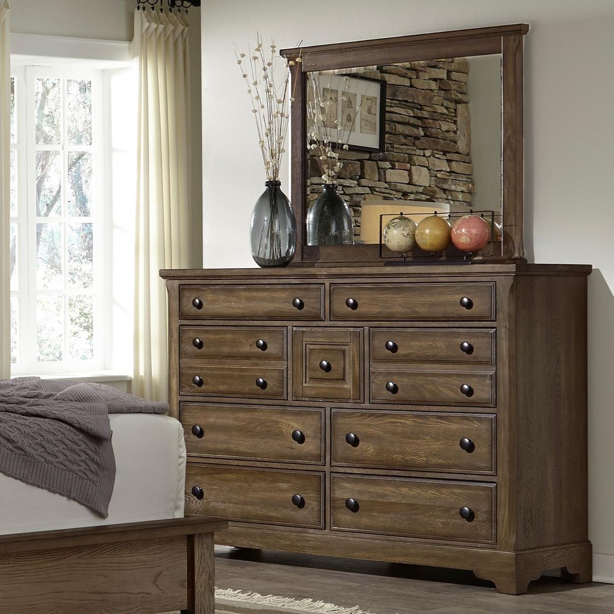 Artisan Choices Villa Triple Dresser & Landscape Mirror by Artisan & Post at Lapeer Furniture & Mattress Center