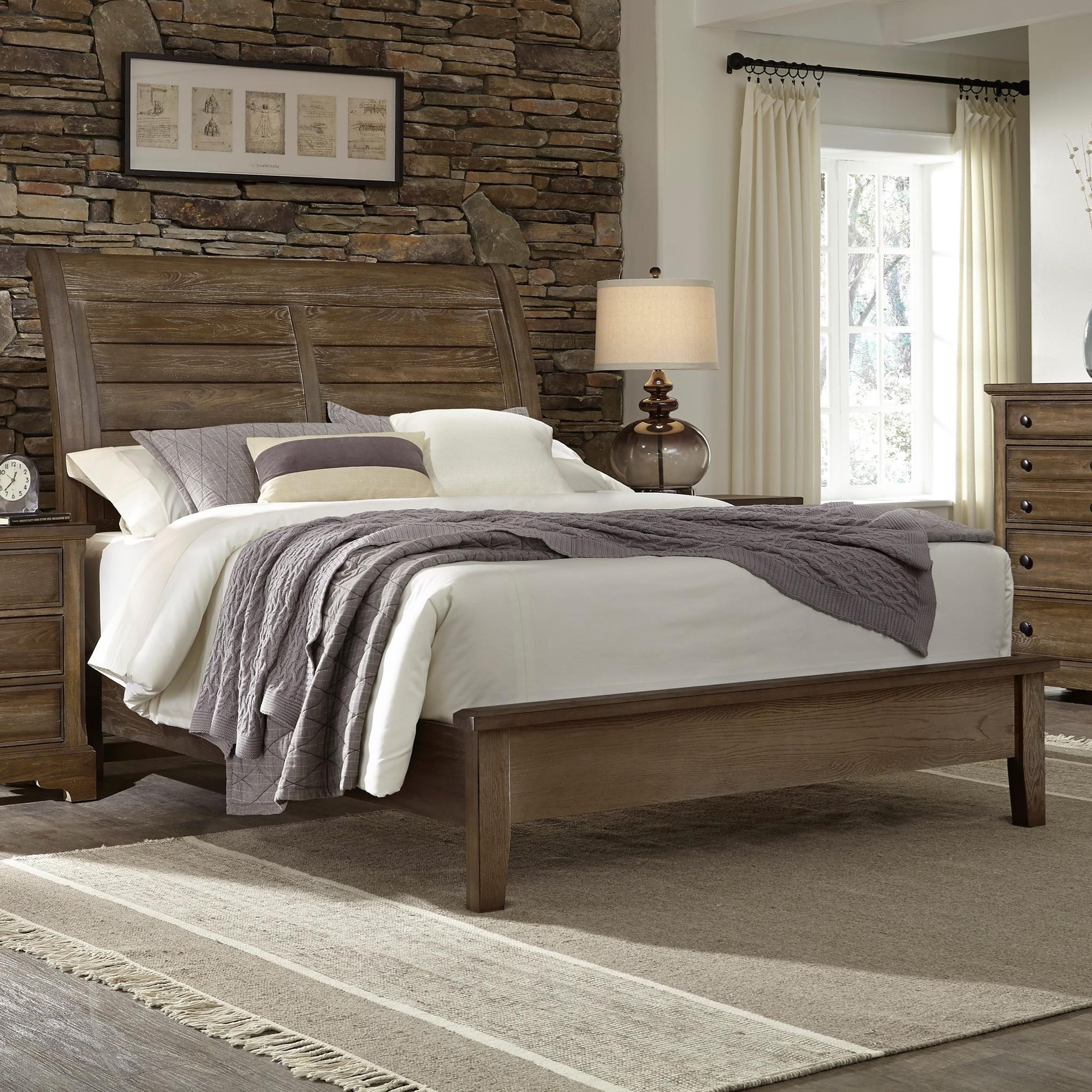 Artisan Choices Queen Sleigh Bed with Low Profile Footboard by Artisan & Post at Zak's Home