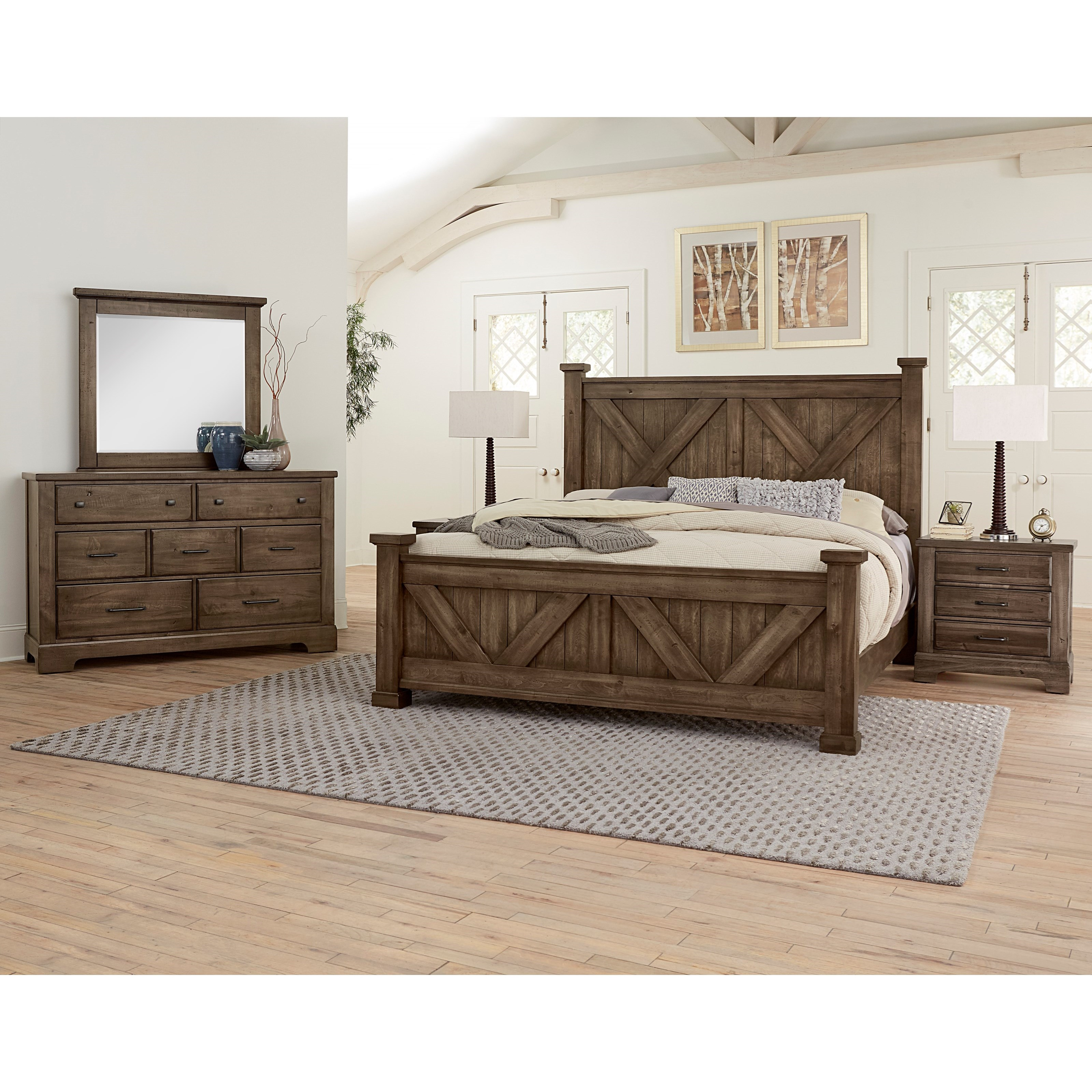 Cool Rustic Queen Bedroom Group by Artisan & Post at Esprit Decor Home Furnishings