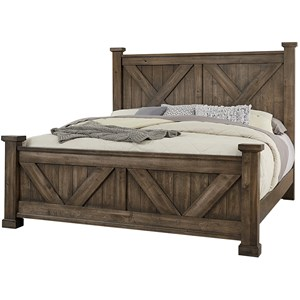 Solid Wood Queen Barndoor X Headboard and Footboard Bed
