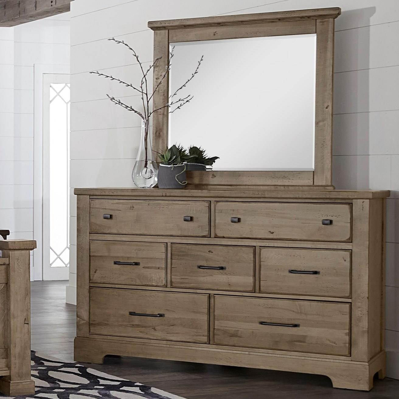 Cool Rustic 7 Drawer Dresser and Mirror by Artisan & Post at Northeast Factory Direct