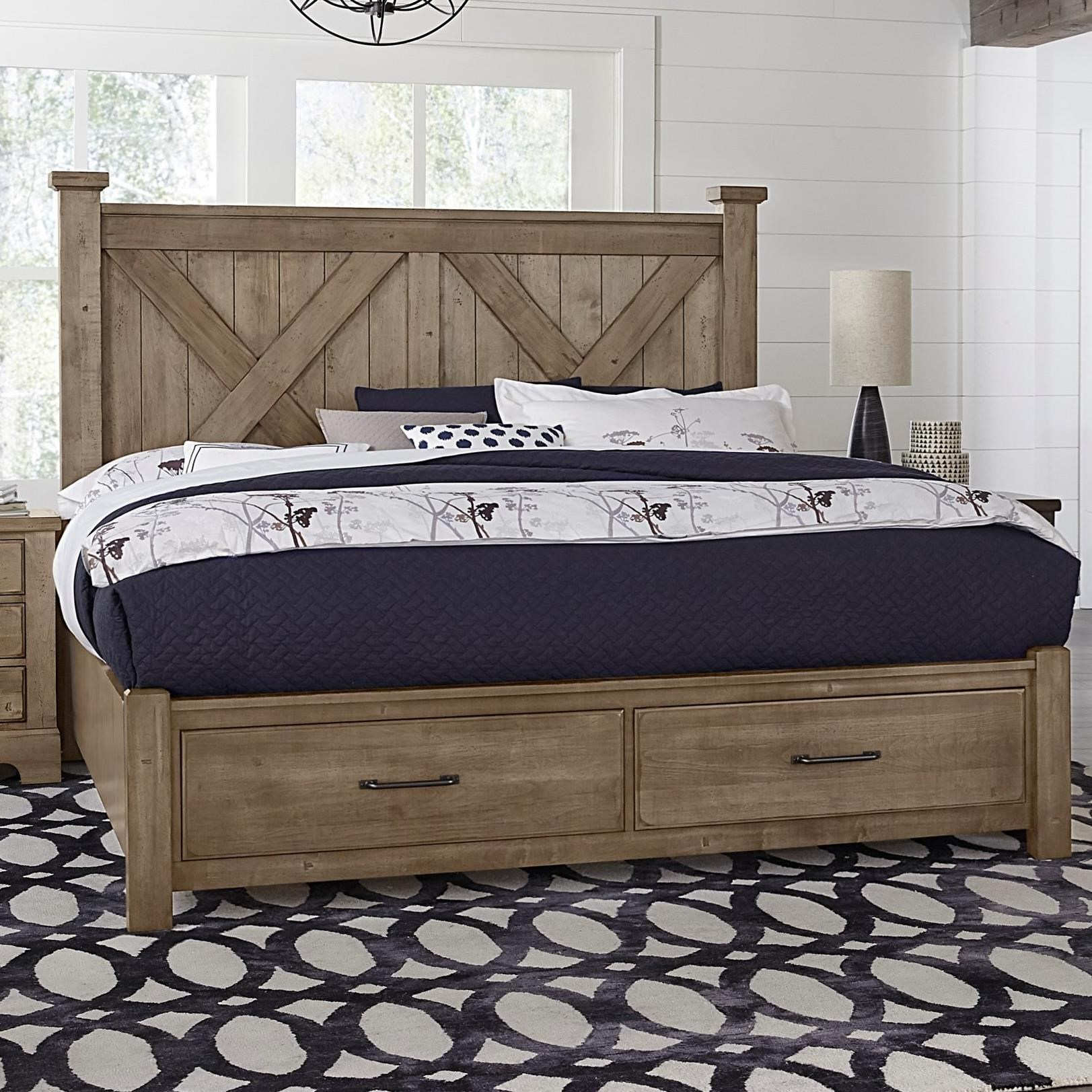 Cool Rustic King X Bed with Storage Footboard by Artisan & Post at Rooms and Rest