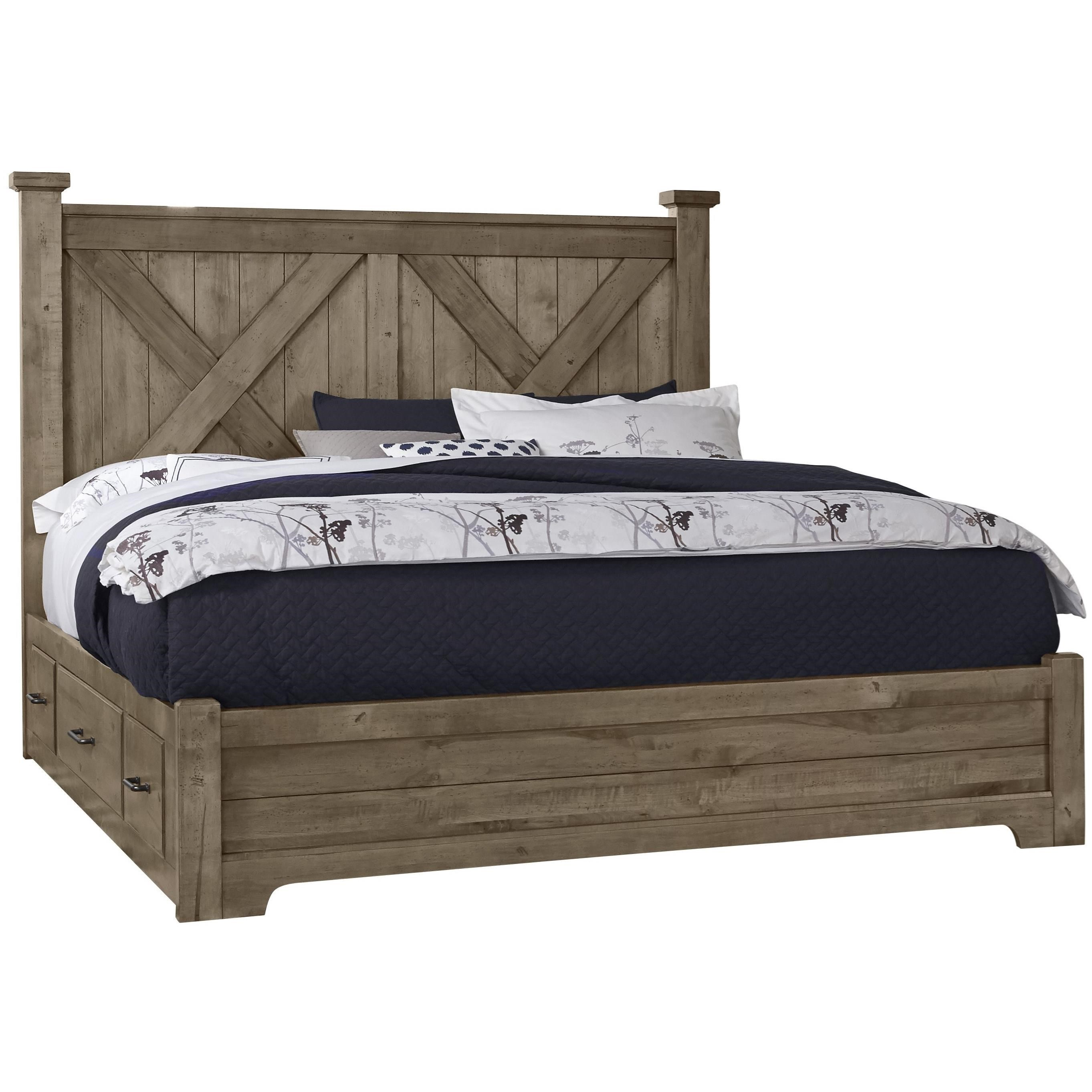 Cool Rustic Queen X Bed with Side Storage by Artisan & Post at Northeast Factory Direct