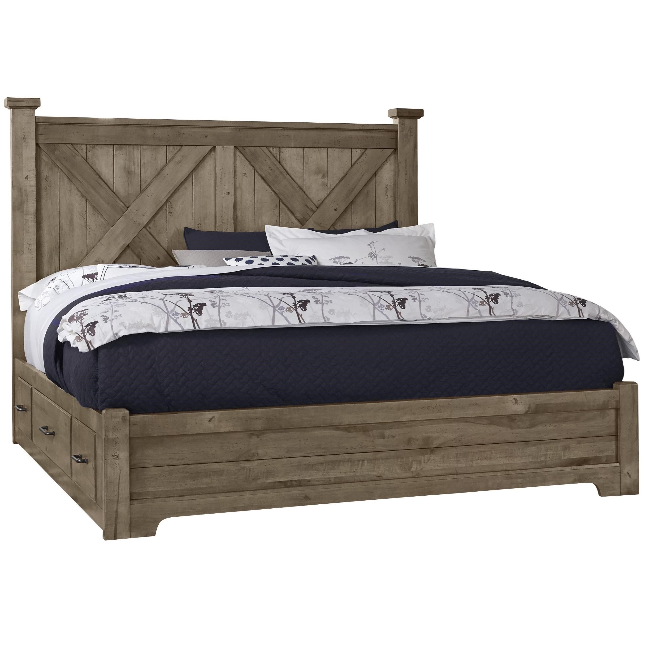 Cool Rustic Queen X Bed With Double Side Storage by Artisan & Post at Northeast Factory Direct
