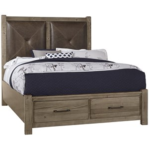 Solid Wood Queen Leather Headboard Bed with Storage Footboard