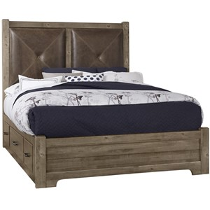 Solid Wood Queen Leather Headboard Bed with Double Side Storage