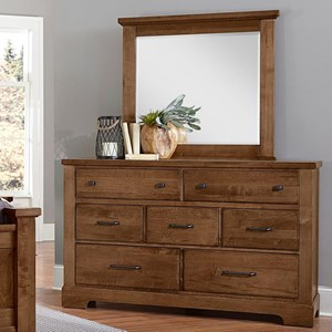 Solid Wood 7 Drawer Dresser and Mirror