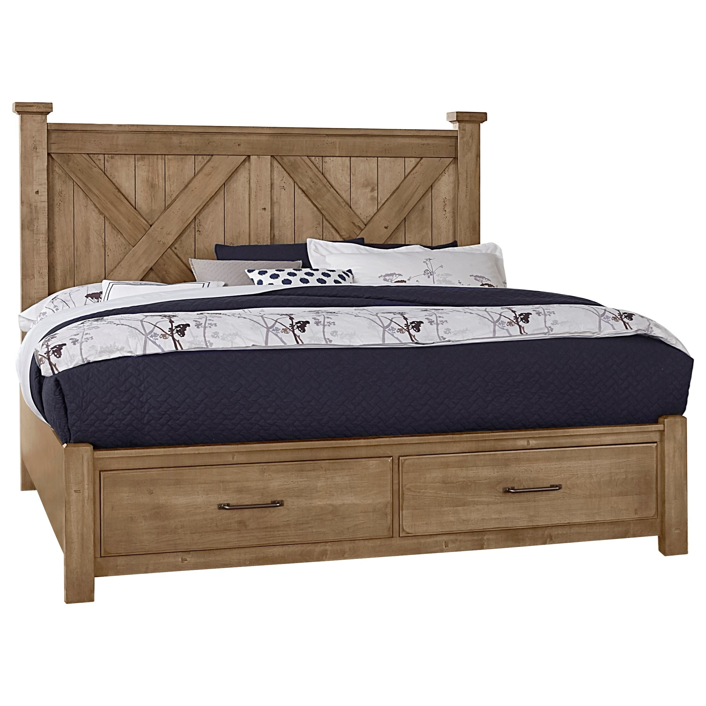 Cool Rustic Queen X Bed with Storage Footboard by Artisan & Post at Northeast Factory Direct