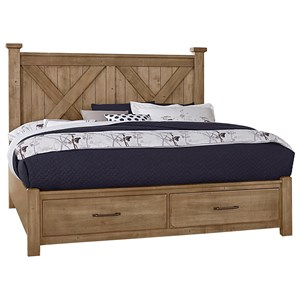 King X Bed with Storage Footboard