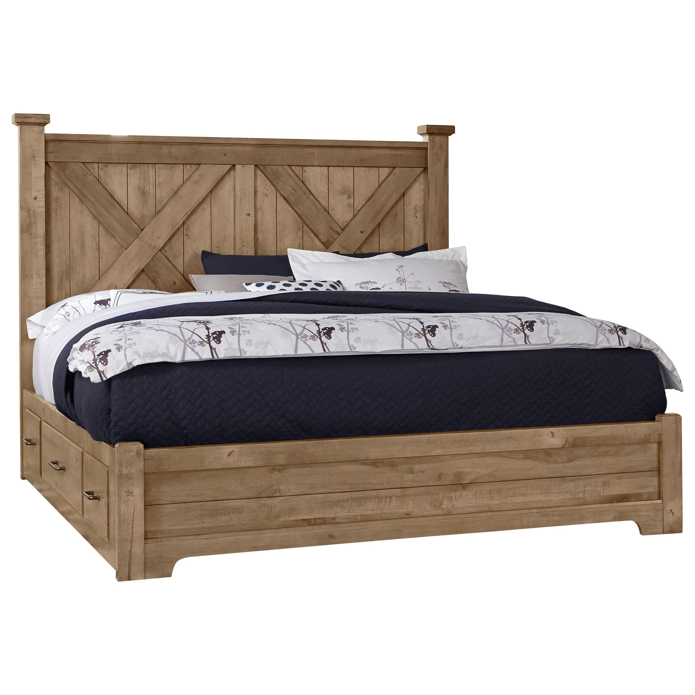 Cool Rustic King X Bed With Double Side Storage by Artisan & Post at Northeast Factory Direct