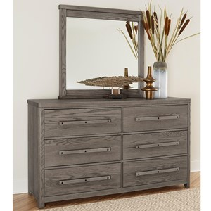 Solid Wood 6-Drawer Dresser and Mirror Set