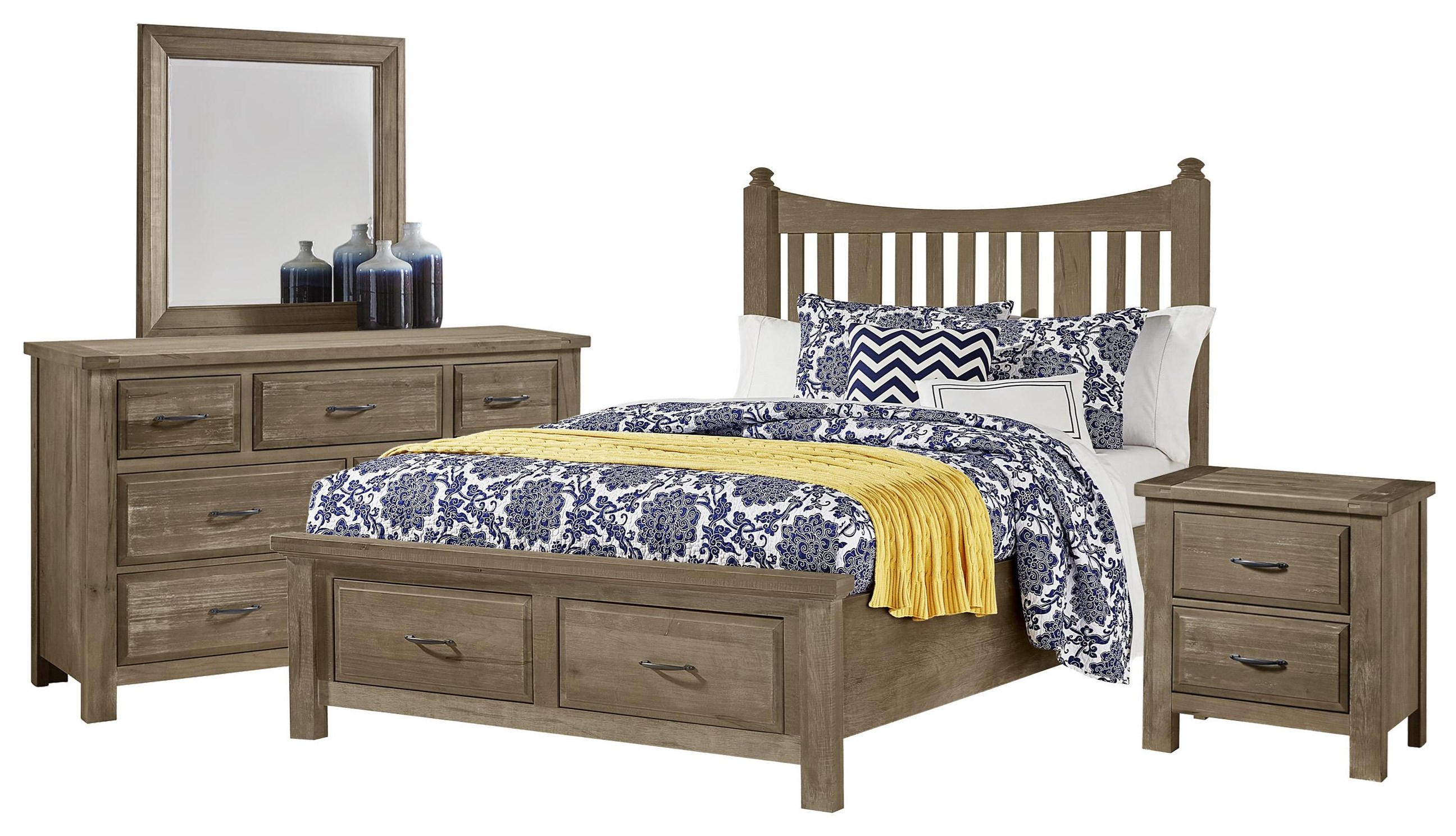 Maple Road Queen Bed, Dresser, Mirror, Nightstand by Artisan & Post at Johnny Janosik