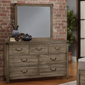 Contemporary Solid Wood Dresser and Mirror Set