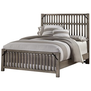 Rustic Queen Slat Bed with Metal Accents