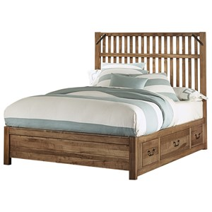 Rustic Queen Slat Bed with 3 Side Storage Drawers