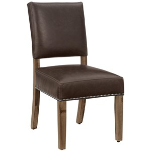 Dining Side Chair with Genuine Leather and Pewter Nailhead Trim