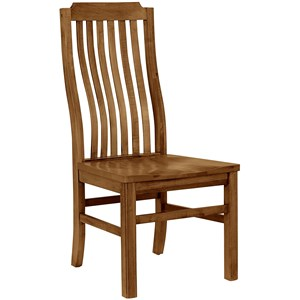 Casual Solid Wood Vertical Slat Side Chair