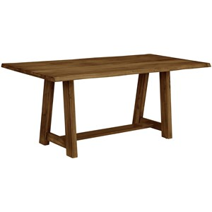 """Rustic Solid Wood 72"""" Dining Table with Crafted Live Edge"""