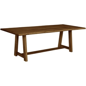 "Rustic Solid Wood 90"" Dining Table with Crafted Live Edge"